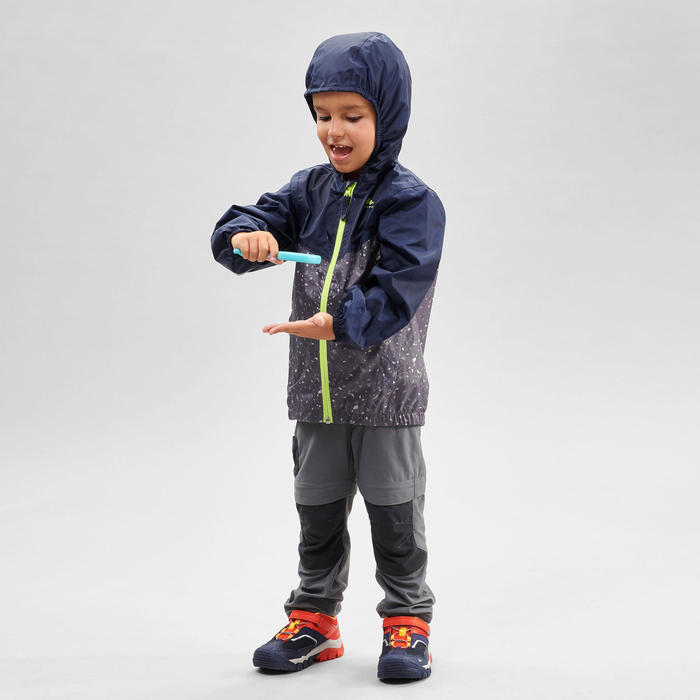 MH150 Kids' Waterproof Hiking Jacket - Blue/Grey