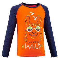 Kids' ANTI-UV Long-sleeved Hiking T-shirt MH150 - Orange