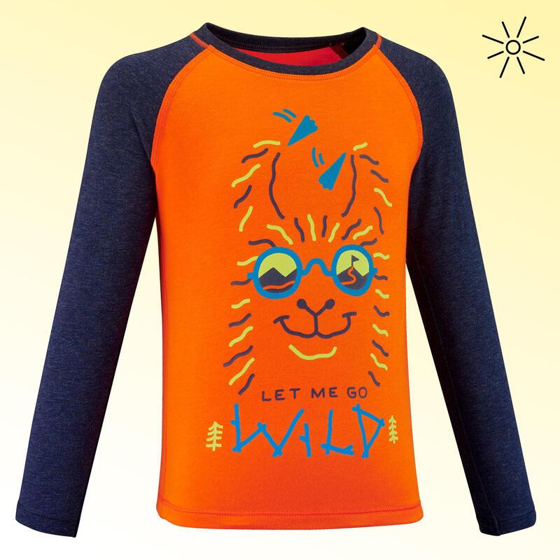 Kids' Long-Sleeved ANTI-UV Hiking T-Shirt - MH150 Aged 2-6 - Orange