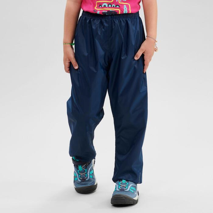 Sur-pantalon imperméable de randonnée - MH100 bleu marine - enfant 2-6 ANS