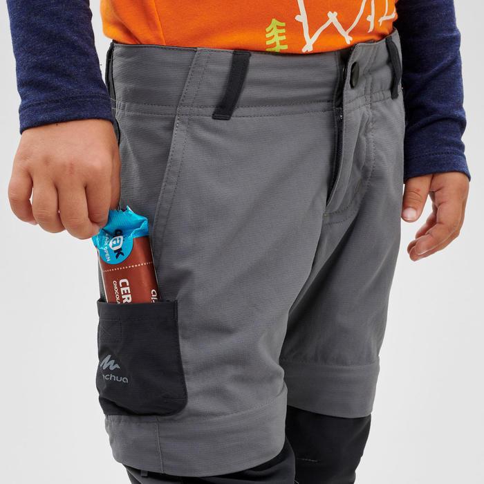 兒童款可調節式健行長褲-MH500 KID-灰色