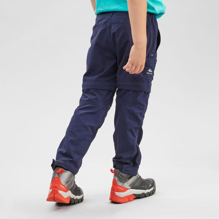 孩童款可調節式健行長褲- MH500 KID -藍色