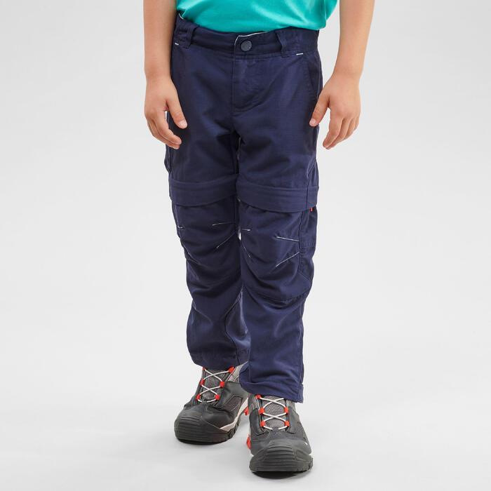 Pantalon de randonnée modulable - MH500 KID bleu - enfant 2-6 ANS