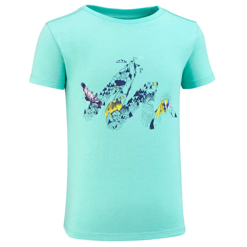 TS-SH-GIAC-PANT BAMBINA 2-6A Sport di Montagna - T-shirt bambina MH100 turchese QUECHUA - Trekking bambino