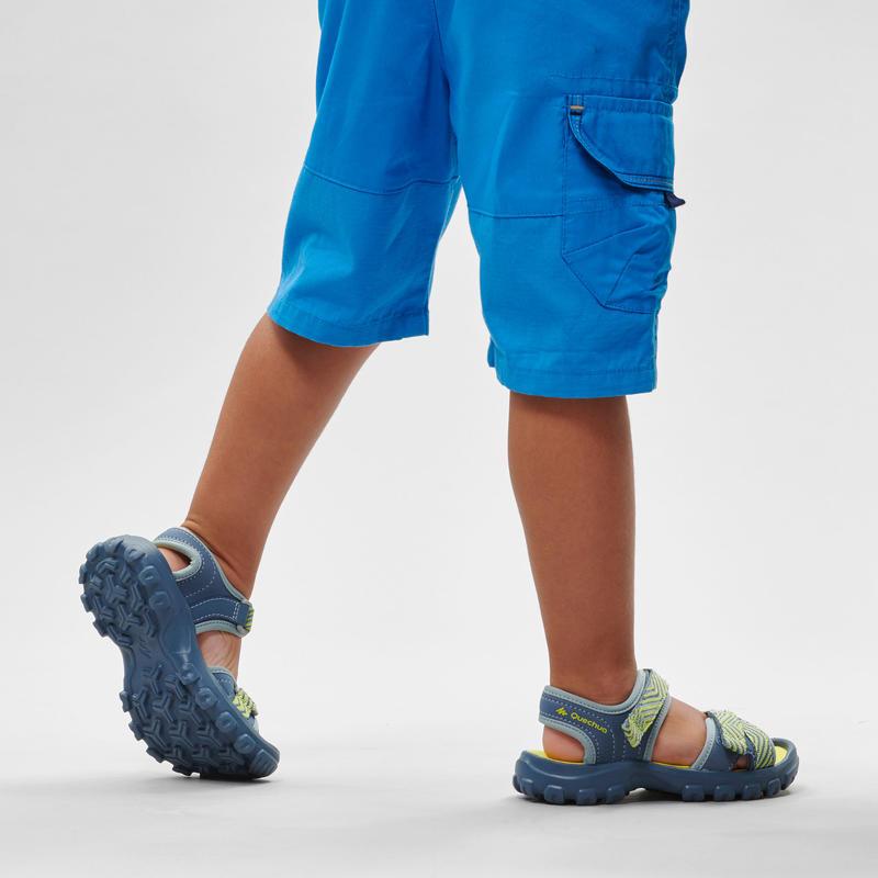 Sandales de randonnée MH100 KID bleues et jaunes - enfant - 24 AU 31