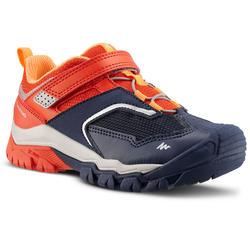 男童款魔鬼氈低筒登山健行鞋Crossrock-紅色