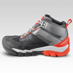 Chaussures imperméables de randonnée -CROSSROCK MID grises- enfant 28 AU 34