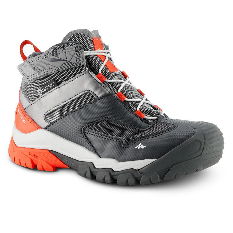Dětské turistické kotníkové nepromokavé boty Crossrocs šedé
