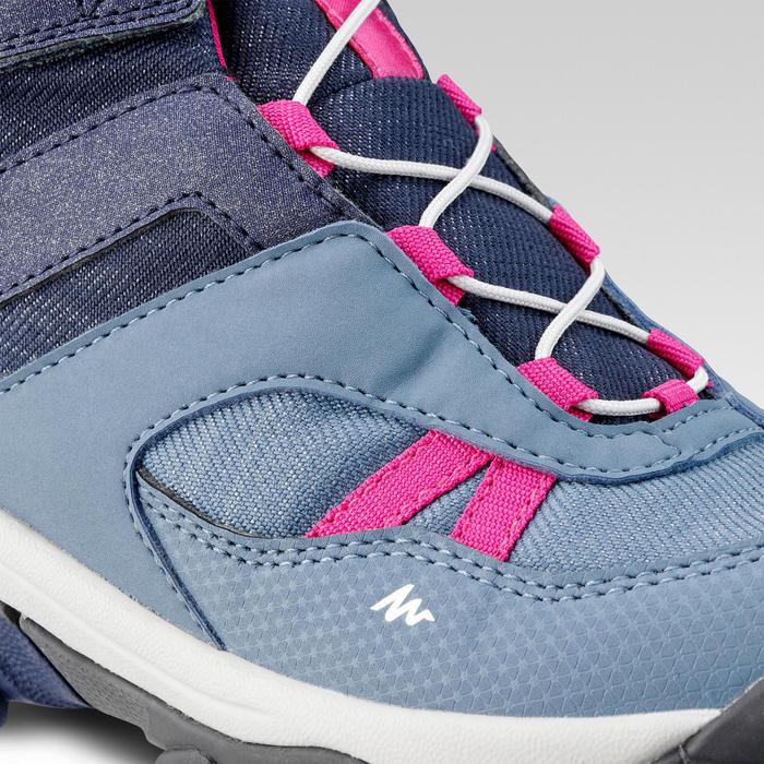 Chaussures de randonnée enfant lacet CROSSROCK MID imperméables bleues 28-34