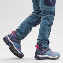 兒童款綁帶中筒防水健行鞋CROSSROCK-藍色