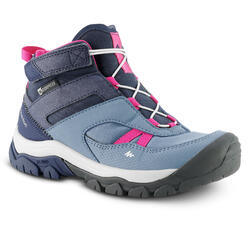 WATERPROOF MOUNTAIN HIKING SHOES - CROSSROCK MID - BLUE - KIDS - SIZE 28 TO 34