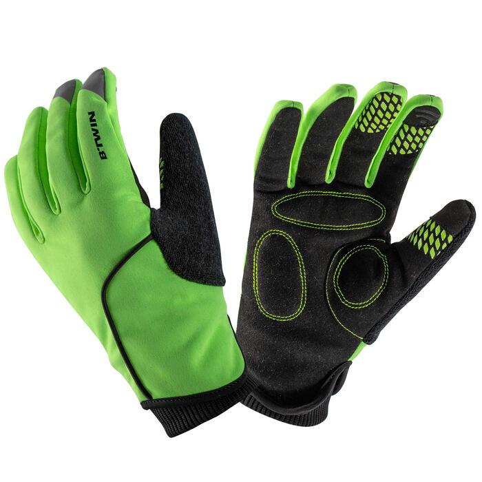 Fietshandschoenen voor kinderen winter 500 fluogeel