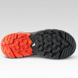 男童款低筒綁帶登山健行鞋Crossrock-紅色