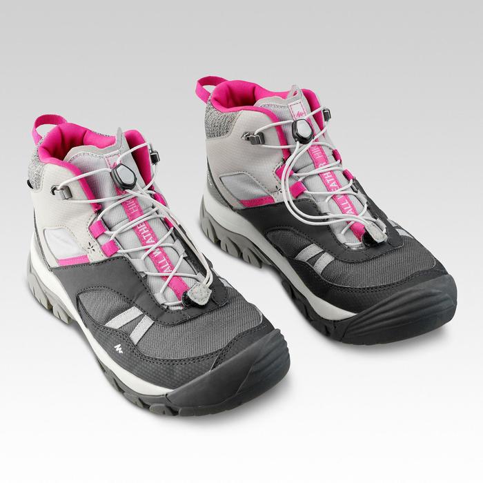 Chaussures de randonnée enfant lacet CROSSROCK MID imperméables grises 35-38