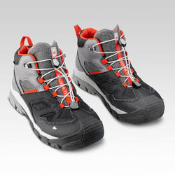 Kid's Waterproof Lace-up Hiking Shoes CROSSROCK MID - Grey size 2.5-5