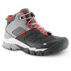WATERPROOF LACE-UP MOUNTAIN HIKING SHOES - CROSSROCK MID - GREY - KIDS - SIZE 35