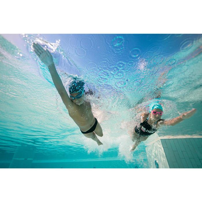 泳鏡100軟材質 S號藍黃色透明鏡片
