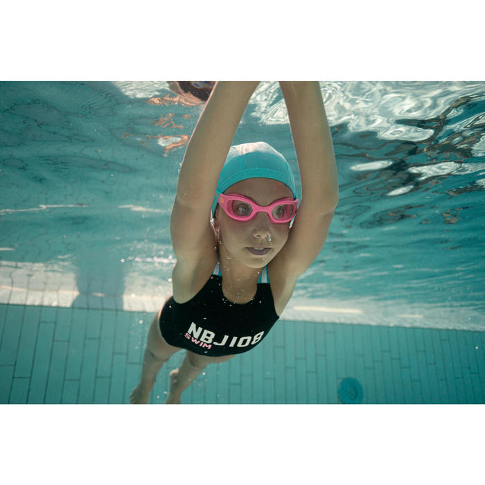 SWIMMING GOGGLES 100 SOFT SIZE S PINK CORAL CLEAR LENSES