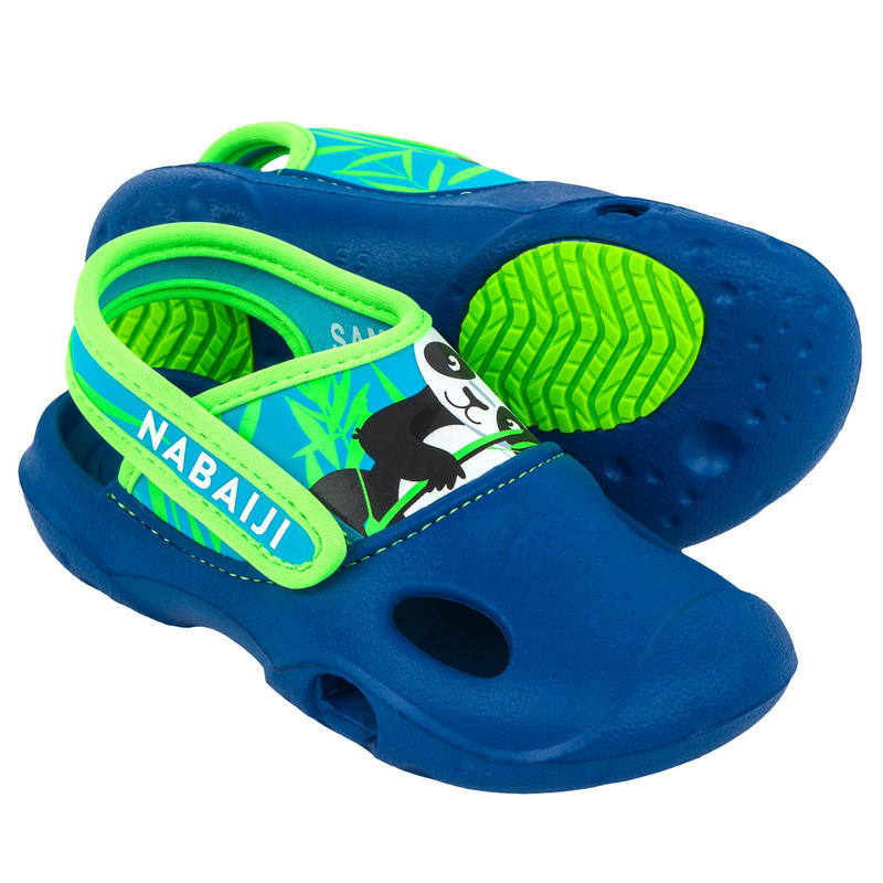 Papuci înot Clog 500 Imprimeu Panda Albastru Băieți