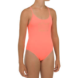 Fato de banho de Surf 100 Menina Coral