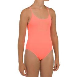 Surfbadpak voor meisjes zwart koraalrood 100