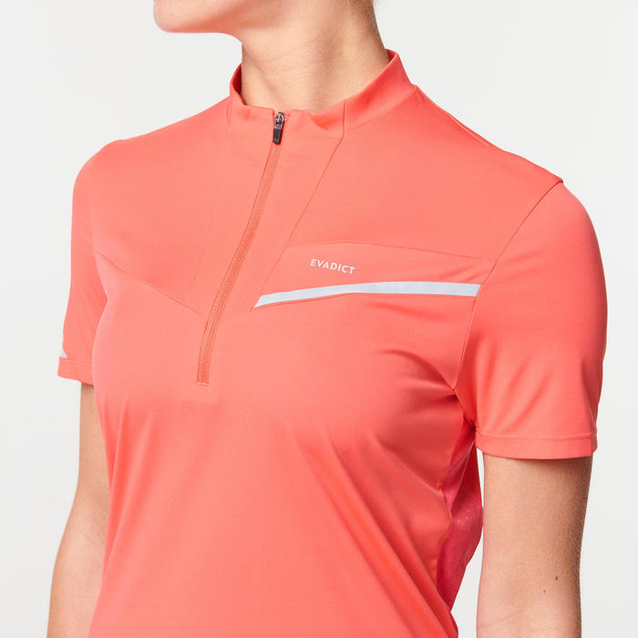 Tee shirt manches courtes trail running femme rose fraise