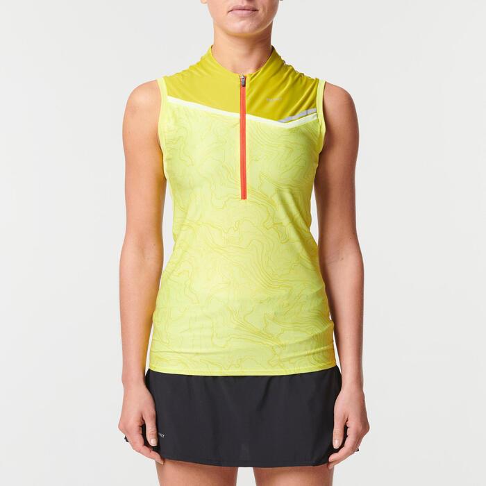 女款越野跑背心 - 黃綠配色