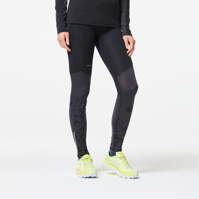 Mallas Largas Trail Running Mujer Negro Gris Flores