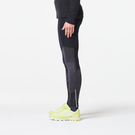WOMEN'S TRAIL RUNNING TIGHTS - BLACK/GREY/FLOWERS