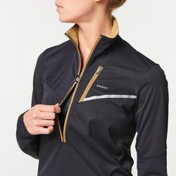 Camiseta Chaqueta Softshell Manga Larga Trail Mujer negro bronce