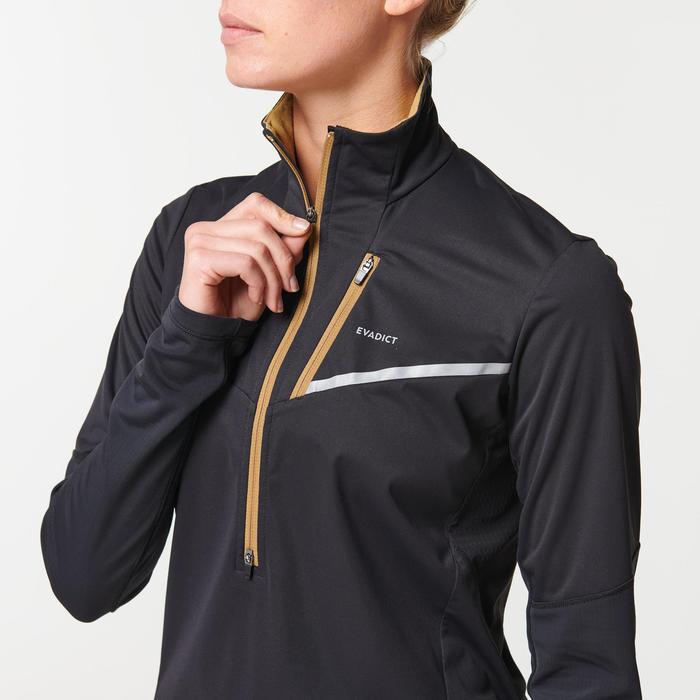 女款越野跑長袖Softshell外套- 黑色與古銅配色