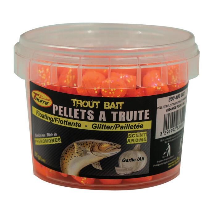 Drijvende pellets voor vissen op forelvijvers oranje