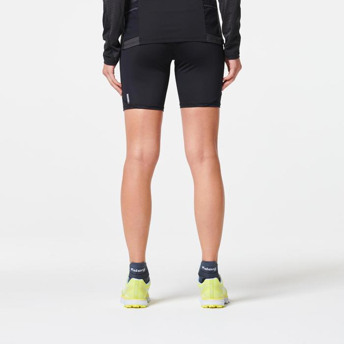 女款越野跑緊身短褲-黑色配古銅色