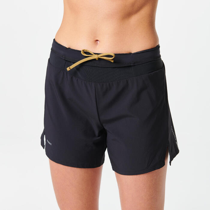 女款越野跑步短褲 - 黑色