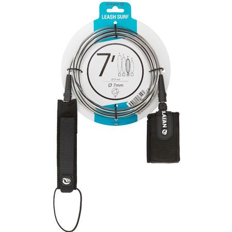 7 mm Diameter Surfboard Leash 7' (210 cm) - Black