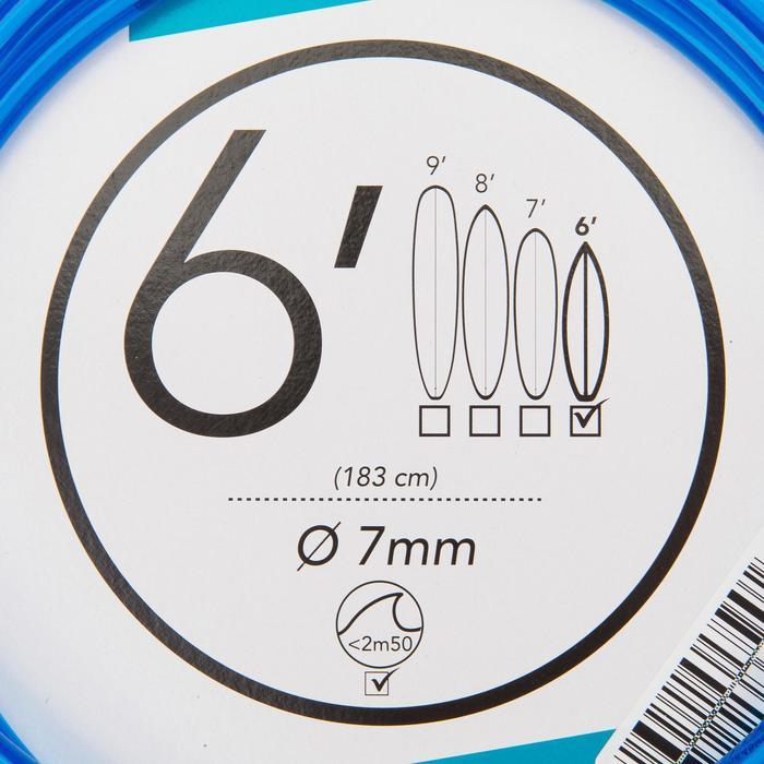 Leash surfboard 6' (183 cm) diameter 7 mm blauw