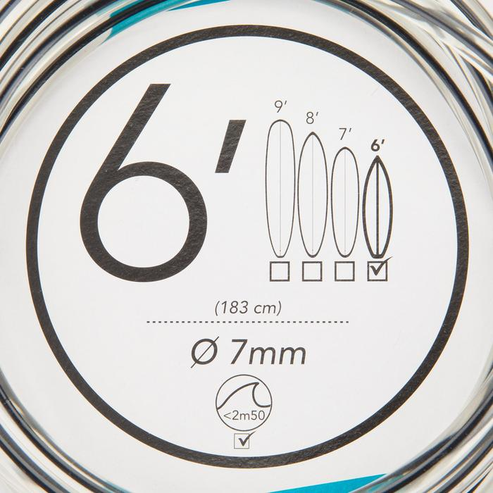 Leash surf 6' (183 cm ) diamètre 7mm noir