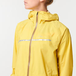 Chaqueta Impermeable Trail Running Mujer Amarillo Ocre