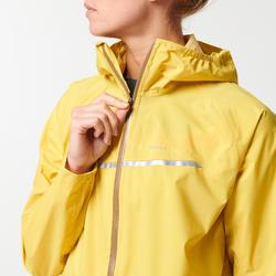 Veste de pluie imperméable trail running jaune ocre femme