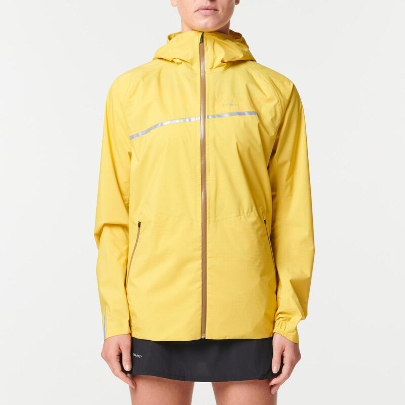 Chaqueta Trail Running Mujer Amarillo Ocre Impermeable