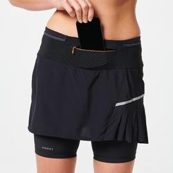 女款越野跑步褲裙 - 黑色