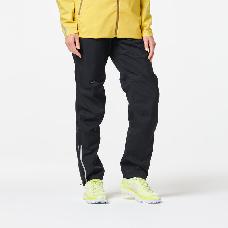 Pantalón Trail Running Mujer Negro Impermeable