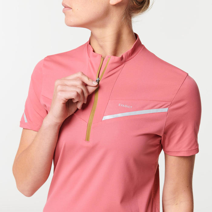 女款越野跑短袖T恤 - 草莓粉色系