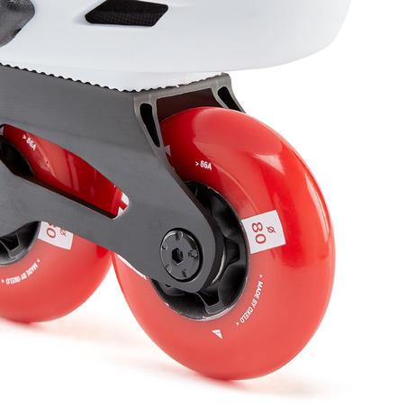 Ролики для фрирайда жесткие для взрослых бело-красные MF500