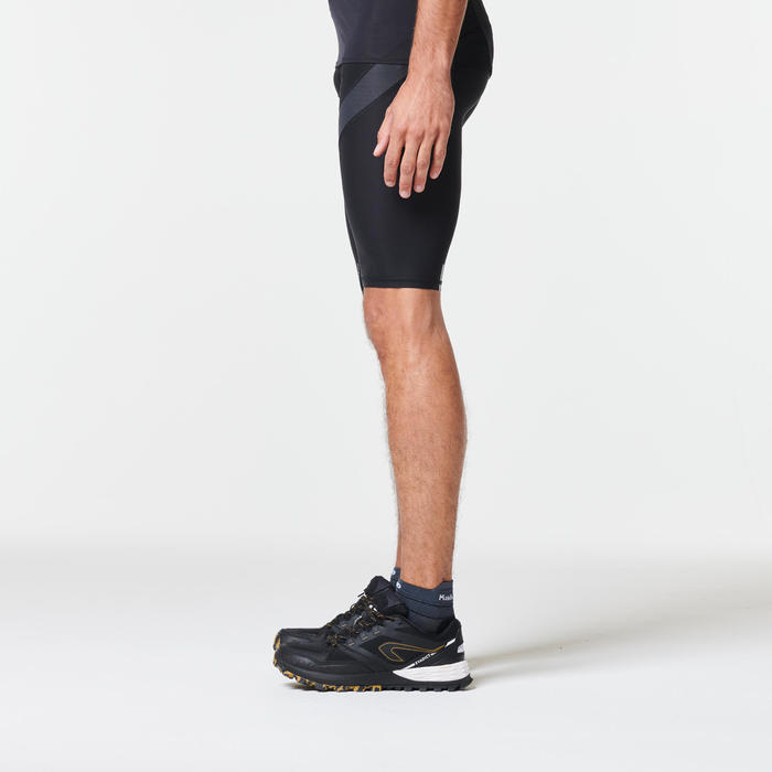 Compressiekuitbroek voor heren, voor trail, zwart/grijs