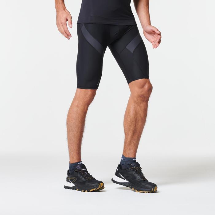 Korte Compressiebroek voor heren, voor trail, zwart/grijs