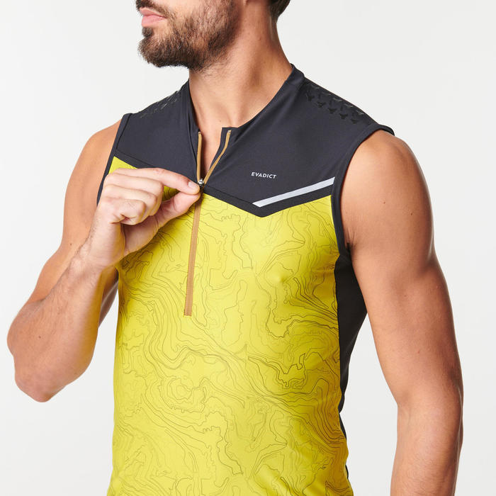 男款越野跑背心 - 綠色/黃色