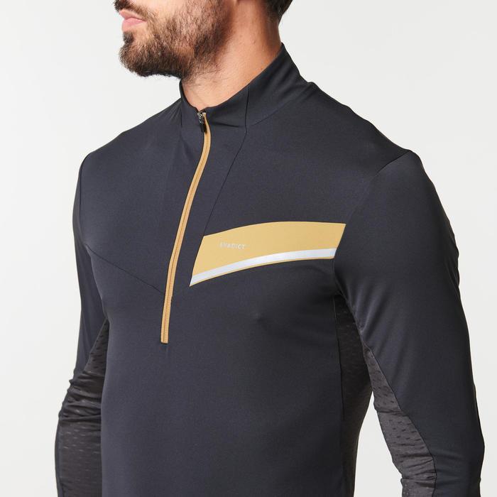 男款越野跑長袖運動衫 - 黑色與古銅配色