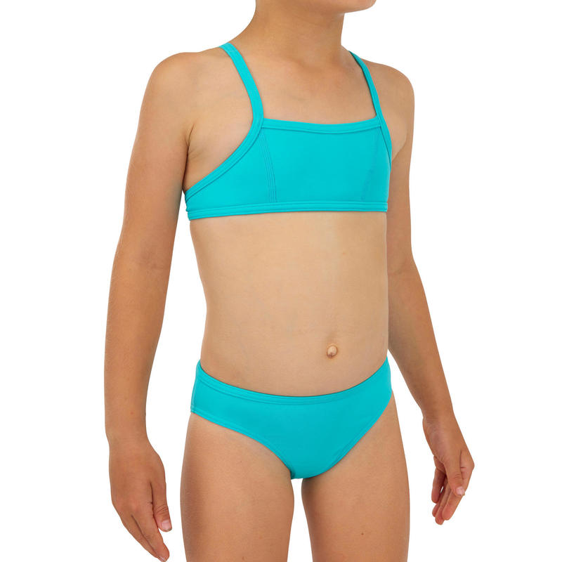 GIRLS' two-piece SURFING swimsuit BIKINI TOP BALI 100 - TURQUOISE