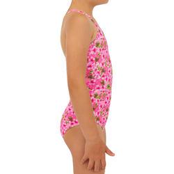 Fato de banho de Surf Hanalei 100 Menina Rosa fluorescente